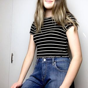 FREE W/PURCHASE🌟 Cropped Striped Ruffled T-Shirt